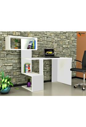 Rafline Velluto Çalışma Masası - Beyaz