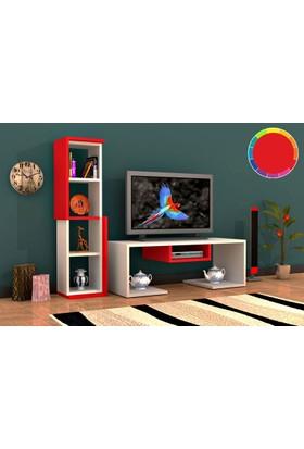 Rafline Bacia Tv Ünitesi - Kırmızı Beyaz