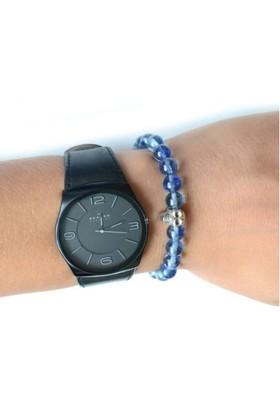 Toptancı Kapında Açık Mavi Saat Yanı Bileklik