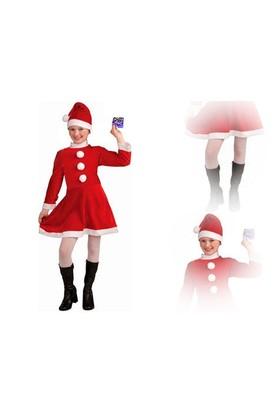 Toptancı Kapında Yılbaşı Özel 9-12 Yaş Kız Çocuk Noel Baba Elbisesi