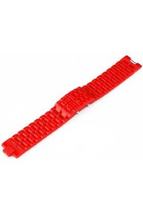 Toptancı Kapında Renkli Samurai Led Kol Saati - Kırmızı