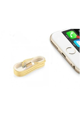 Toptancı Kapında İphone Örgü Şeklinde Renkli Çelik Şarj Data Kablosu - Gold