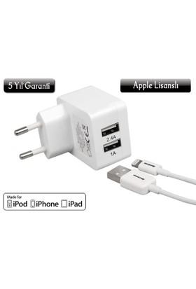 Awetron ( 5 Yıl Garantili ! ) iPhone 5 – 6- 6S - Plus- iPad Apple MFI lisanslı Awe-102 Şarj Aleti: (2,4A+1A=3,4 A Dual USB - Hızlı Şarj Cihazı)