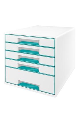 Leitz Wow Çekmeceli Evrak Rafı 5 Çekmeceli Metalik Buz Mavisi 52141051