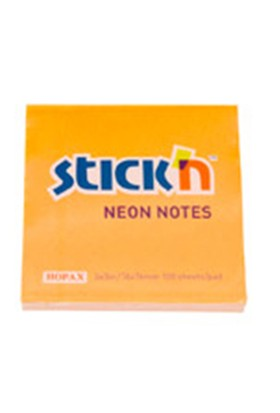 Hopax Neon Yapışkanlı Not Kağıt Renkli 76*76 Mm. 100 Yp. Turuncu