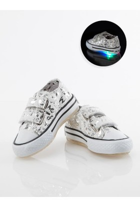 Stilo 2700 Günlük Keten Cırtlı Convers Işıklı Kız Spor Ayakkabı