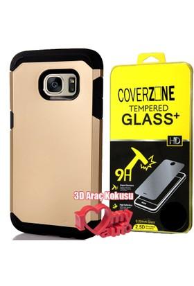 CoverZone Samsung Galaxy Note 7 Kılıf Sert Antişok Gold + + 3d Araç Kokusu