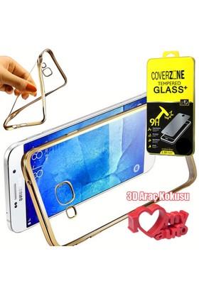 CoverZone Samsung Galaxy Note 7 Kılıf Metalize Silikon Gold + + 3d Araç Kokusu
