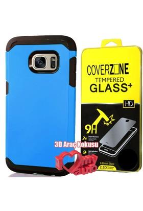 CoverZone Samsung Galaxy Note 7 Kılıf Sert Antişok Mavi + + 3d Araç Kokusu
