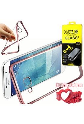 CoverZone Samsung Galaxy Note 7 Kılıf Metalize Silikon Rose Gold + + 3d Araç Kokusu