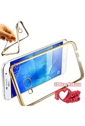 CoverZone Samsung Galaxy Note 7 Kılıf Metalize Silikon Gold + 3d Araç Kokusu