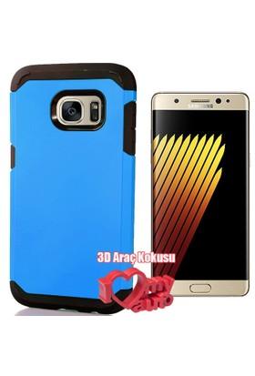 CoverZone Samsung Galaxy Note 7 Kılıf Sert Antişok Mavi + 3d Araç Kokusu