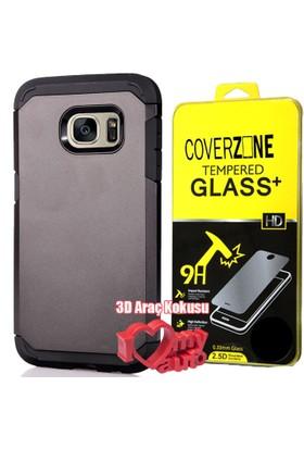 CoverZone Samsung Galaxy Note 7 Kılıf Sert Antişok Siyah + + 3d Araç Kokusu