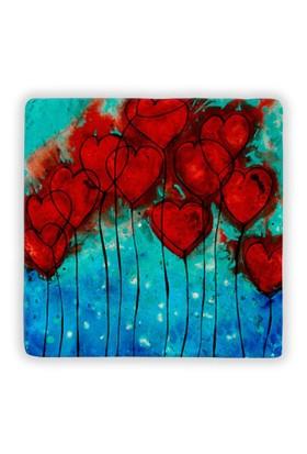 Oscar Stone Heart Flowers Taş Tablo
