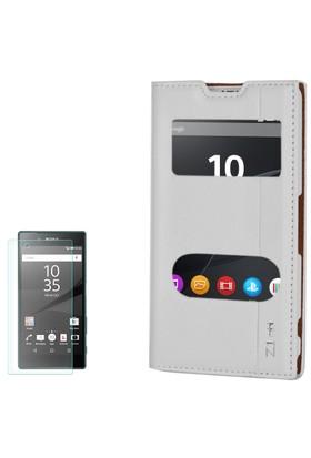 Gpack Sony Xperia Z1 Compact Kılıf Kapaklı Milano + Cam