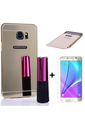 Cep Market Samsung Galaxy Note 5 Kılıf Metal Aynalı Bumper + Cam