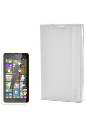 Cep Market Nokıa Lumia 532 Kılıf Kapaklı Magnum Mıknatıslı + Cam