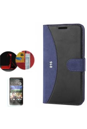 Gpack HTC Desire 816/816 G Kılıf Standlı Deri Cüzdan + Cam