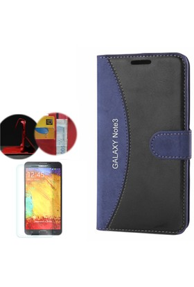 Gpack Samsung Galaxy Note 3 Kılıf Standlı Deri Cüzdan + Cam