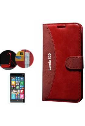 Cep Market Nokia Lumia 830 Kılıf Standlı Deri Cüzdan + Cam