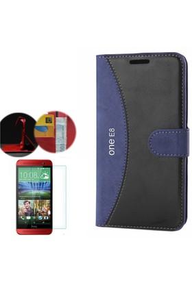 Gpack HTC One E8 Kılıf Standlı Deri Cüzdan + Cam
