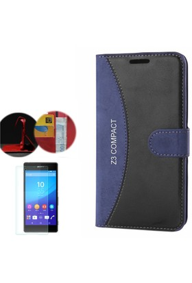 Gpack Sony Xperia Z3 Compact Kılıf Standlı Deri Cüzdan + Cam
