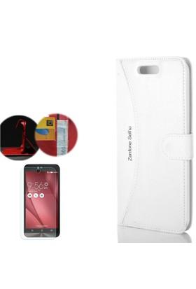 Gpack Asus Zenfone Selfie Kılıf Standlı Deri Cüzdan + Cam