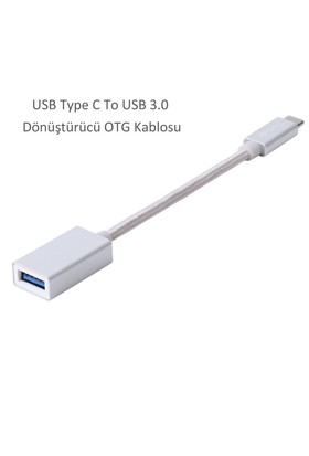 Case 4U Fonemax USB Type C To USB 3.0 Dönüştürücü OTG Kablosu Gümüş