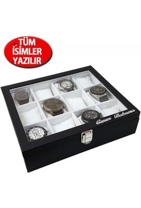 İsminize Özel Gümüş 2 isimli 12'li Siyah Deri Saat Kutusu st12-1
