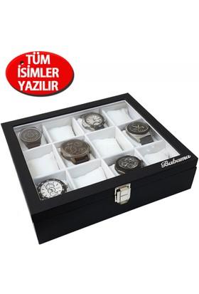 İsminize Özel Gümüş 3 isimli 12'li Siyah Deri Saat Kutusu st12-1