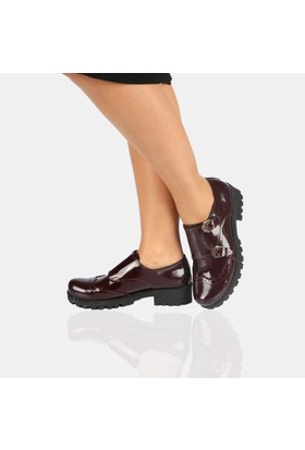 Modabuymus Bordo Rugan Casual Deri Bayan Ayakkabı