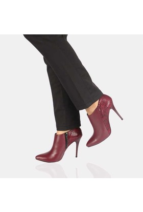 Modabuymus Bordo Krok Bootie Stiletto
