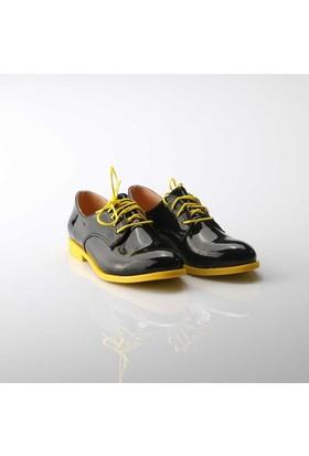 Modabuymus Sarı Tabanlı Siyah Rugan Bayan Ayakkabı