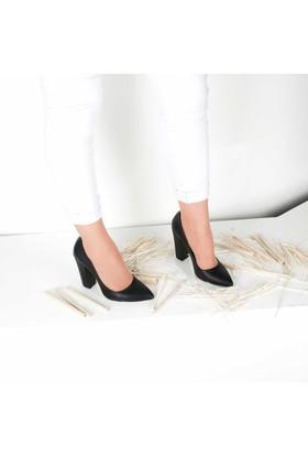 Modabuymus Kalın Topuklu Siyah Stiletto
