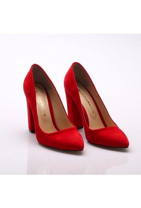 Modabuymus Kırmızı Süet Kalın Topuklu Stiletto