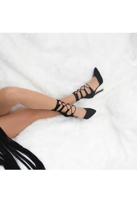 Modabuymus Siyah Şık Stiletto Bilekten Bağcıklı
