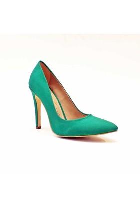 Modabuymus Yeşil Süet Stiletto Modeli