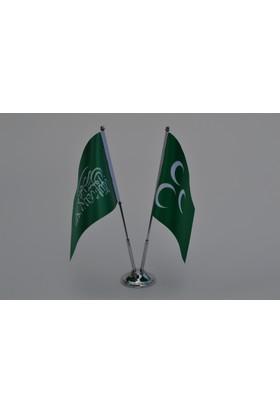 Bayrakal Tevhid ve Osmanlı Bayrağı Masa Bayrak Takımı