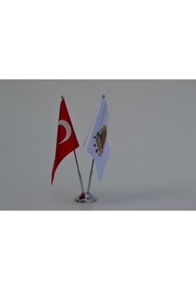 Bayrakal Osmanlı Tuğrası ve Türk Bayrağı Masa Bayrak Takımı