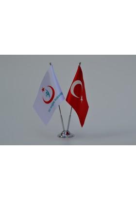 Bayrakal Sağlık Bakanlığı Logolu ve Türk Bayrağı Masa Bayrak Takımı
