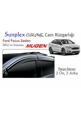Krom Çıtalı Mugen Tip (Sunplex Chrome) Ford Focus Sedan 2012 Cam Rüzgarlığı Chr-04
