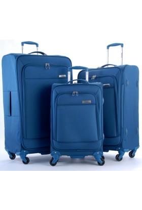 Travelx 4 Tekerlekli Katlanabilir 3'Lü Valiz Seti Mavi