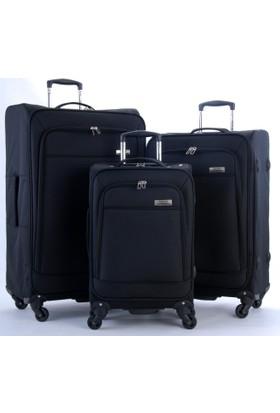 Travelx 4 Tekerlekli Katlanabilir 3'Lü Valiz Seti Siyah