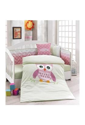 Erenev 6390 Pembe Baykuş Bebek Uyku Seti 6 Parça