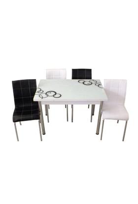 Mutfak Masası Takımı Cam Siyah Halka Yan Açılır Masa+3 Beyaz +3 Siyah Deri Sandalye
