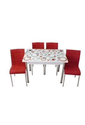 Mutfak Masası Takımı Cam Kırmızı Halka Yan Açılır Masa+6 Kırmızı Deri Sandalye