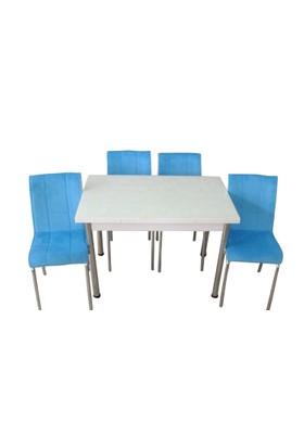 Mutfak Masası Takımı Cam Beyaz Yan Açılır Masa+4 Mavi Tay Tüyü Kumaş Sandalye