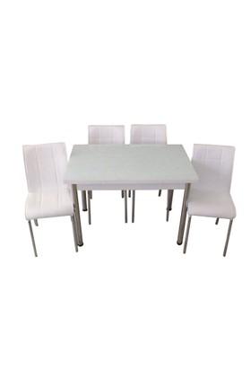 Mutfak Masası Takımı Cam Beyaz Yan Açılır Masa+6 Beyaz Deri Sandalye