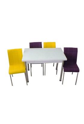 Mutfak Masası Takımı Cam Beyaz Yan Açılır Masa+2 Sarı +2 Mor Deri Sandalye