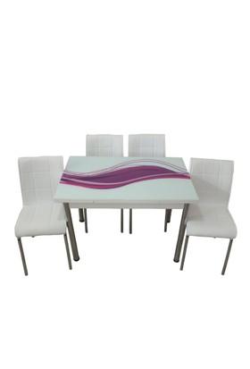 Mutfak Masası Takımı Cam Mor Kuşak Yan Açılır Masa +6 Beyaz Deri Sandalye